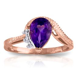 Genuine 1.52 ctw Amethyst & Diamond Ring Jewelry 14KT Rose Gold - REF-51Y4F