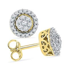 0.25 CTW Diamond Flower Cluster Earrings 10KT Yellow Gold - REF-22K4W