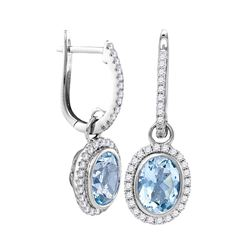 2.44 CTW Natural Aquamarine Diamond Oval Dangle Earrings 14KT White Gold - REF-112Y5X