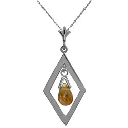 Genuine 0.70 ctw Citrine Necklace Jewelry 14KT White Gold - REF-23K9V