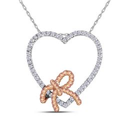 0.15 CTW Diamond Rope Knot Bow Heart Pendant 10KT Two-tone Gold - REF-13H4M