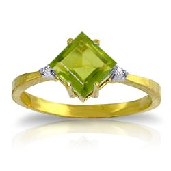 Genuine 1.77 ctw Peridot & Diamond Ring Jewelry 14KT Yellow Gold - REF-28Z8N