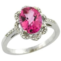 Natural 1.85 ctw Pink-topaz & Diamond Engagement Ring 10K White Gold - REF-29K3R