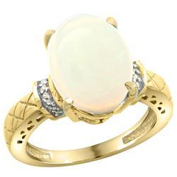 Natural 5.53 ctw Opal & Diamond Engagement Ring 10K Yellow Gold - REF-46V8F