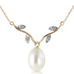 Genuine 4.02 ctw Pearl & Diamond Necklace Jewelry 14KT Yellow Gold - REF-26R7P