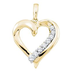 0.24 CTW Diamond Heart Love Pendant 14KT Yellow Gold - REF-25Y4X