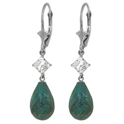 Genuine 18.6 ctw Green Sapphire Corundum & White Topaz Earrings Jewelry 14KT White Gold - REF-46A7K