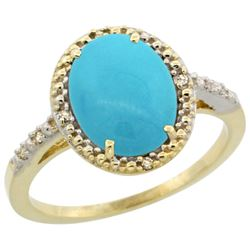 Natural 2.42 ctw Turquoise & Diamond Engagement Ring 10K Yellow Gold - REF-32Y4X