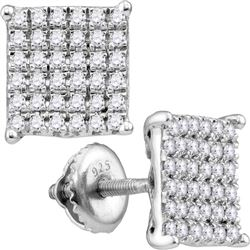 0.98 CTW Diamond Square Cluster Stud Earrings 10KT White Gold - REF-67W4K