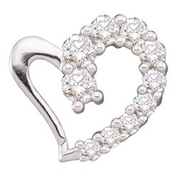 0.18 CTW Diamond Heart Love Pendant 14KT White Gold - REF-14X9Y