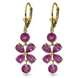 Genuine 5.32 ctw Pink Topaz Earrings Jewelry 14KT Yellow Gold - REF-50W6Y
