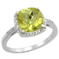 Natural 3.92 ctw Lemon-quartz & Diamond Engagement Ring 14K White Gold - REF-33K6R