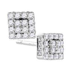 0.30 CTW Diamond Square Cluster Earrings 10KT White Gold - REF-19H4M