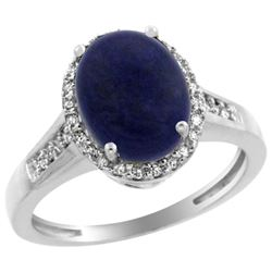 Natural 2.49 ctw Lapis & Diamond Engagement Ring 14K White Gold - REF-39G8M