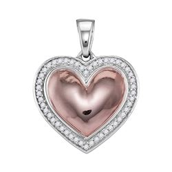 0.20 CTW Diamond Heart Pendant 10KT Two-tone Gold - REF-19X4Y