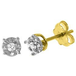 Genuine 0.06 ctw Diamond Anniversary Earrings Jewelry 14KT Yellow Gold - REF-24T3A