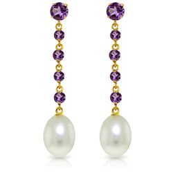 Genuine 10 ctw Amethyst & Pearl Earrings Jewelry 14KT Yellow Gold - REF-32T4A
