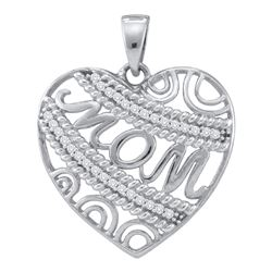 0.10 CTW Diamond Mom Mother Filigree Heart Pendant 10KT White Gold - REF-14H9M