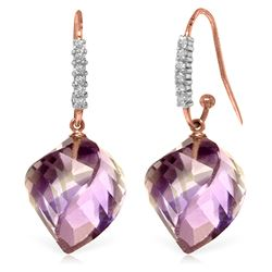 Genuine 21.68 ctw Amethyst & Diamond Earrings Jewelry 14KT Rose Gold - REF-61M3T