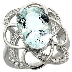 Natural 5.59 ctw aquamarine & Diamond Engagement Ring 14K White Gold - REF-86A6V