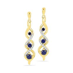 0.50 CTWCreated Blue Sapphire Cascade Dangle Earrings 10KT Yellow Gold - REF-19K4W
