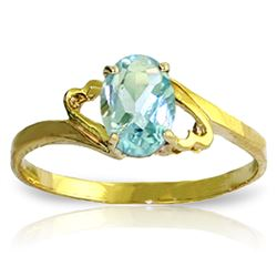Genuine 0.75 ctw Aquamarine Ring Jewelry 14KT Yellow Gold - REF-22Y5F