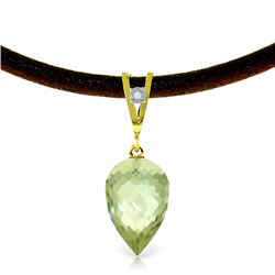 Genuine 9.51 ctw Green Amethyst & Diamond Necklace Jewelry 14KT Yellow Gold - REF-38K5V