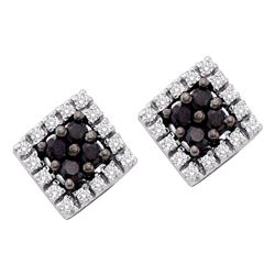 0.25 CTW Black Color Diamond Square Cluster Screwback Earrings 10KT White Gold - REF-14H9M