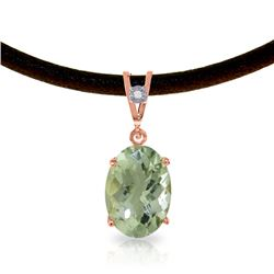 Genuine 7.56 ctw Green Amethyst & Diamond Necklace Jewelry 14KT Rose Gold - REF-35Z5N