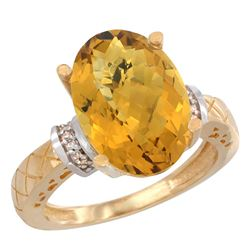 Natural 5.53 ctw Whisky-quartz & Diamond Engagement Ring 14K Yellow Gold - REF-57W8K