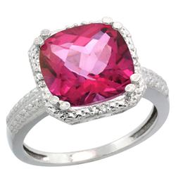 Natural 5.96 ctw Pink-topaz & Diamond Engagement Ring 10K White Gold - REF-32X4A