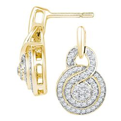 0.50 CTWDiamond Circle Cluster Earrings 10KT Yellow Gold - REF-40Y4X
