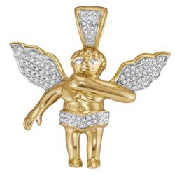 0.15 CTW Mens Diamond Angel Cherub Pendant 10KT Yellow Gold - REF-30F2N