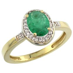 Natural 1.08 ctw Emerald & Diamond Engagement Ring 10K Yellow Gold - REF-31K7R