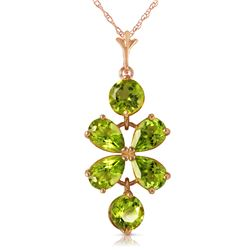 Genuine 3.15 ctw Peridot Necklace Jewelry 14KT Rose Gold - REF-30Y3F