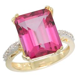 Natural 5.48 ctw Pink-topaz & Diamond Engagement Ring 14K Yellow Gold - REF-51F4N