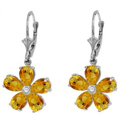 Genuine 4.43 ctw Citrine & Diamond Earrings Jewelry 14KT White Gold - REF-49M8T