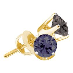 1.5 CTW Black Color Diamond Solitaire Screwback Earrings 10KT Yellow Gold - REF-22K4W