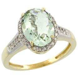 Natural 2.49 ctw Green-amethyst & Diamond Engagement Ring 14K Yellow Gold - REF-42H2W