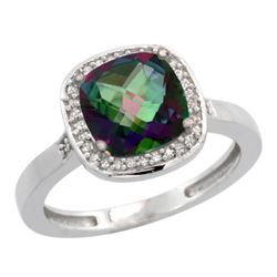 Natural 3.94 ctw Mystic-topaz & Diamond Engagement Ring 10K White Gold - REF-29Y2X