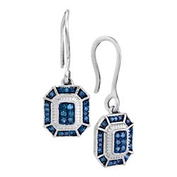 0.21 CTW Blue Color Diamond Square Dangle Wire Earrings 10KT White Gold - REF-22W4K