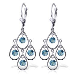 Genuine 2.4 ctw Blue Topaz Earrings Jewelry 14KT White Gold - REF-54N9R
