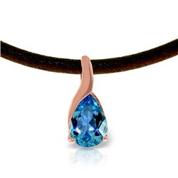 Genuine 4.7 ctw Blue Topaz Necklace Jewelry 14KT Rose Gold - REF-32T3A