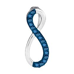 0.10 CTW Blue Color Diamond Vertical Infinity Love Pendant 10KT White Gold - REF-6H6M