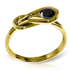 Genuine 0.50 ctw Black Diamond Ring Jewelry 14KT Yellow Gold - REF-77H2X