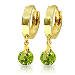 Genuine 2 ctw Peridot Earrings Jewelry 14KT Yellow Gold - REF-25Y9F