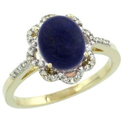 Natural 1.89 ctw Lapis & Diamond Engagement Ring 14K Yellow Gold - REF-36N7G