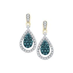 0.63 CTW Blue Color Diamond Teardrop Dangle Earrings 10KT Yellow Gold - REF-52M4H