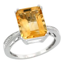 Natural 5.42 ctw Citrine & Diamond Engagement Ring 10K White Gold - REF-57R3Z