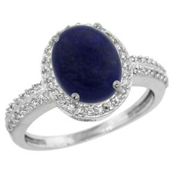 Natural 2.56 ctw Lapis & Diamond Engagement Ring 14K White Gold - REF-39Y8X